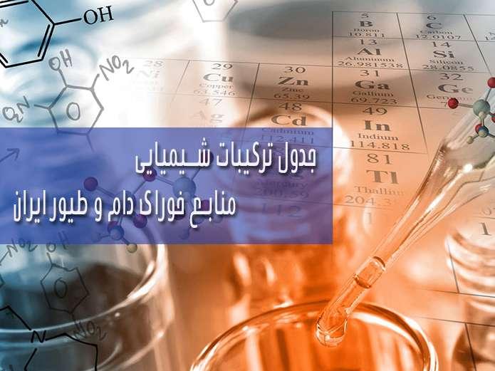 جداول ترکیبات شیمیایی منابع خوراک دام و طیور ایران
