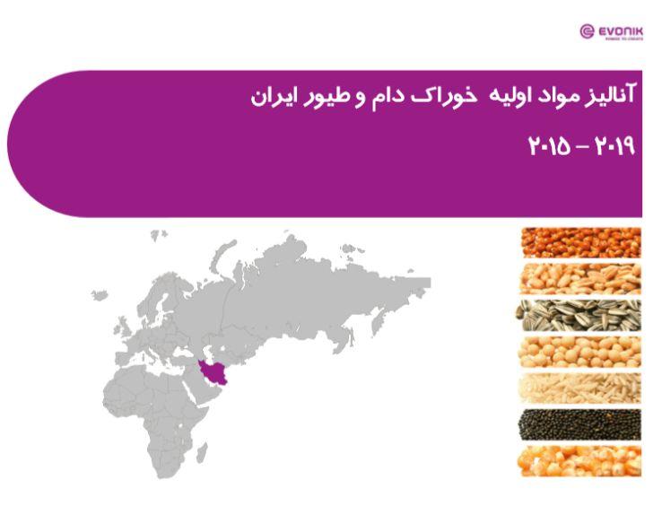 آنالیز مواد اولیه خوراک دام و طیور ایران 2019-2015